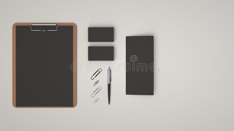 Clipboard, business cards, leaflet, paper clips and pen. Clipboard with black sheet of paper, business cards, trifold leaflet, paper clips and automatic vector illustration