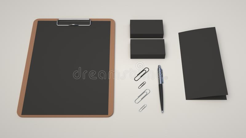 Clipboard, business cards, leaflet, paper clips and pen. Clipboard with black sheet of paper, business cards, trifold leaflet, paper clips and automatic stock illustration