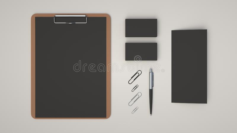 Clipboard, business cards, leaflet, paper clips and pen. Clipboard with black sheet of paper, business cards, trifold leaflet, paper clips and automatic royalty free illustration