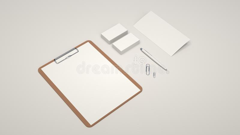 Clipboard, business cards, leaflet, paper clips and pen. Clipboard with white sheet of paper, business cards, trifold leaflet, paper clips and automatic stock illustration