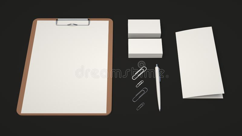 Clipboard, business cards, leaflet, paper clips and pen. Clipboard with white sheet of paper, business cards, trifold leaflet, paper clips and automatic vector illustration
