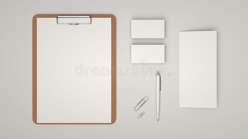 Clipboard, business cards, leaflet, paper clips and pen. Clipboard with white sheet of paper, business cards, trifold leaflet, paper clips and automatic royalty free illustration