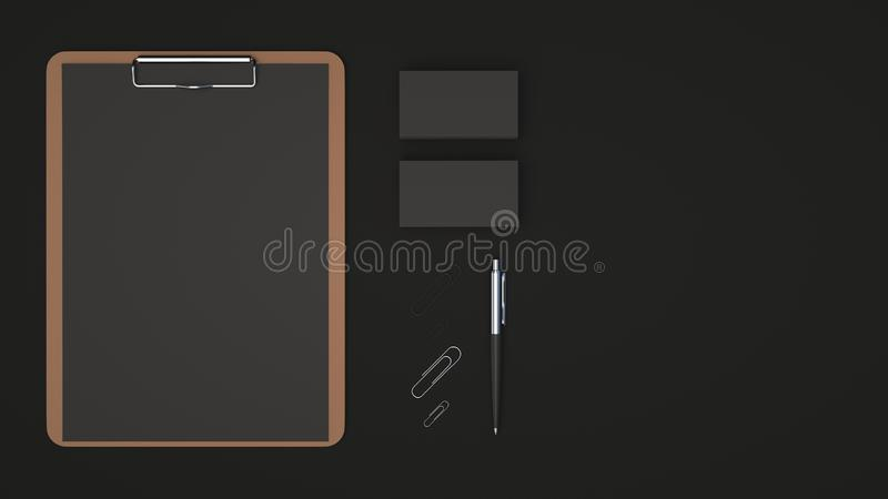 Clipboard, business cards, paper clips and pen. Clipboard with black sheet of paper, business cards, paper clips and automatic ballpoint pen on black background vector illustration