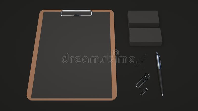 Clipboard, business cards, paper clips and pen. Clipboard with black sheet of paper, business cards, paper clips and automatic ballpoint pen on black background stock illustration
