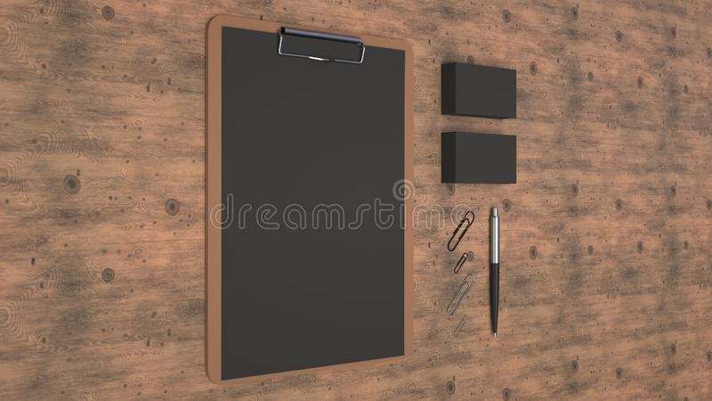 Clipboard, business cards, paper clips and pen. Clipboard with black sheet of paper, business cards, paper clips and automatic ballpoint pen on wooden table royalty free illustration