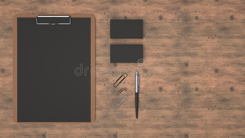Clipboard, business cards, paper clips and pen. Clipboard with black sheet of paper, business cards, paper clips and automatic ballpoint pen on wooden table vector illustration