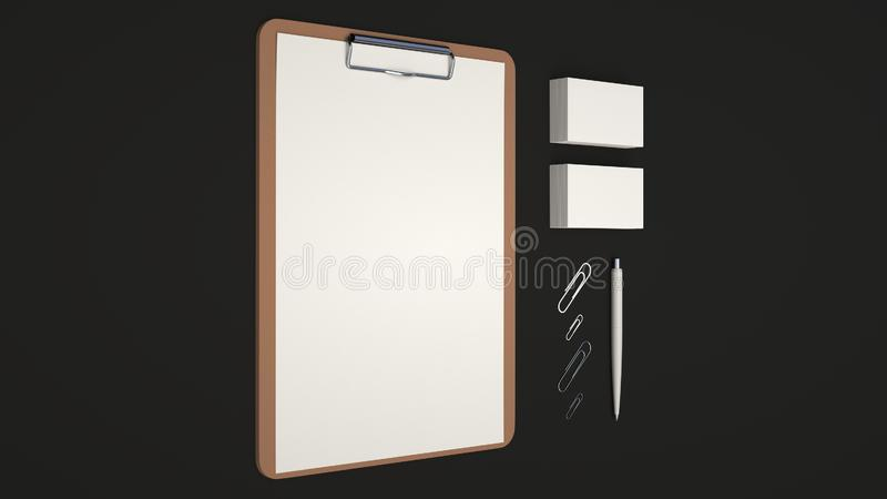 Clipboard, business cards, paper clips and pen. Clipboard with white sheet of paper, business cards, paper clips and automatic ballpoint pen on black background stock illustration