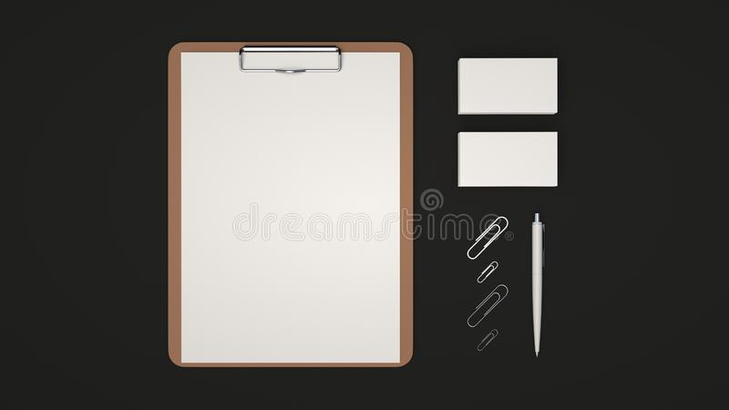 Clipboard, business cards, paper clips and pen. Clipboard with white sheet of paper, business cards, paper clips and automatic ballpoint pen on black background royalty free illustration