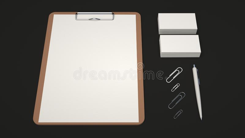 Clipboard, business cards, paper clips and pen. Clipboard with white sheet of paper, business cards, paper clips and automatic ballpoint pen on black background vector illustration