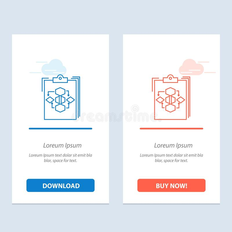 Clipboard, Business, Diagram, Flow, Process, Work, Workflow  Blue and Red Download and Buy Now web Widget Card Template royalty free illustration
