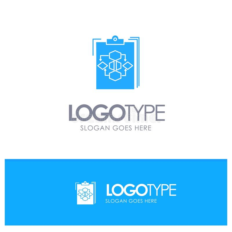 Clipboard, Business, Diagram, Flow, Process, Work, Workflow Blue Solid Logo with place for tagline vector illustration