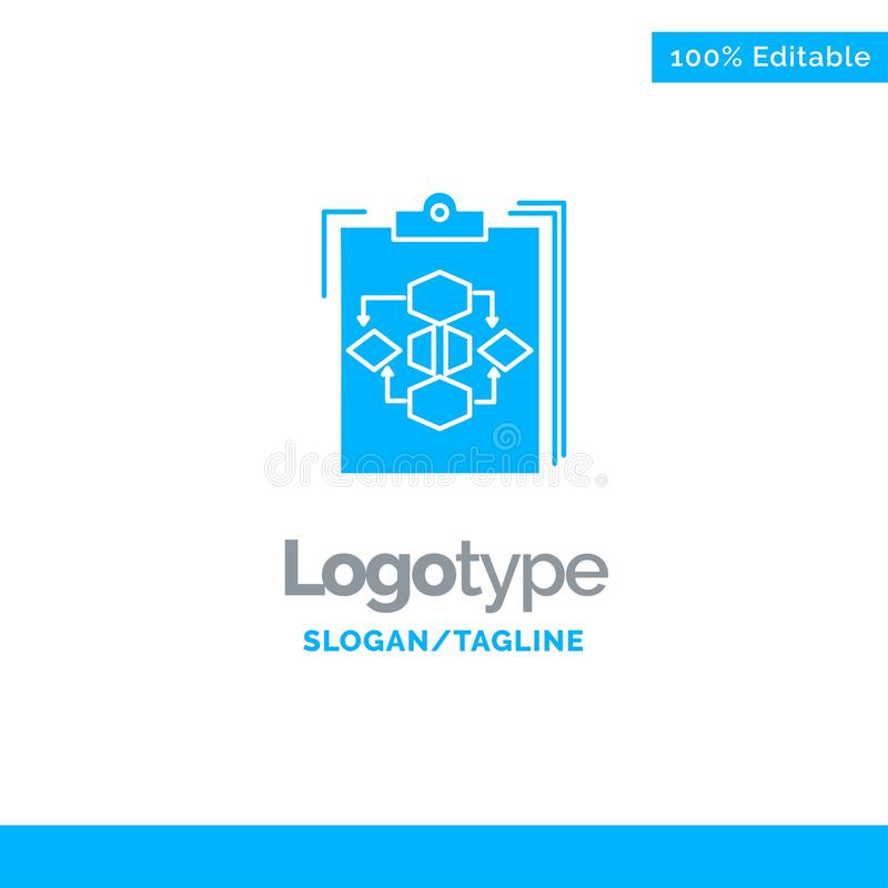 Clipboard, Business, Diagram, Flow, Process, Work, Workflow Blue Solid Logo Template. Place for Tagline stock illustration