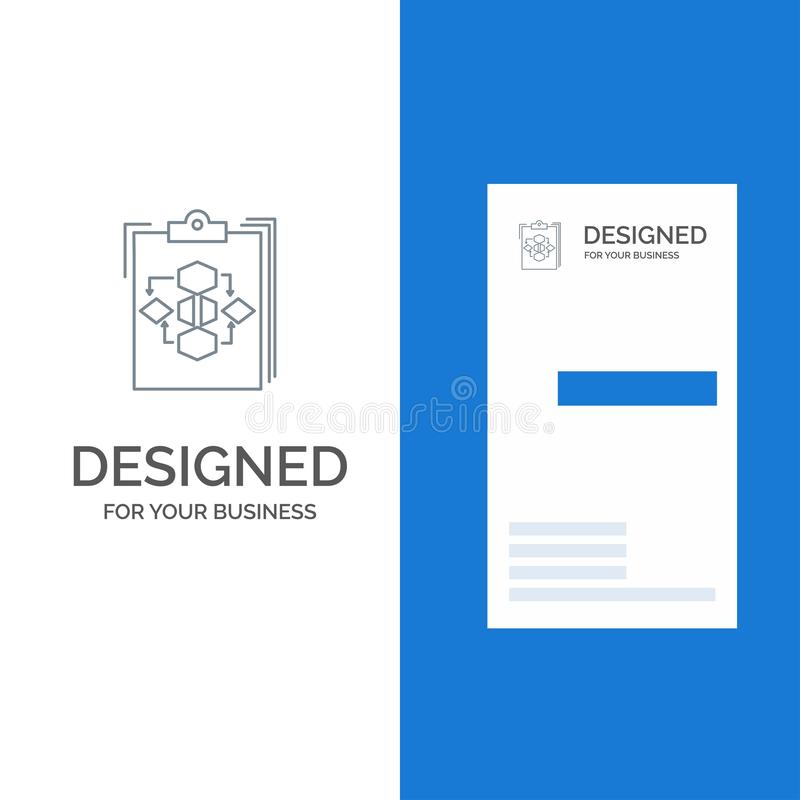 Clipboard, Business, Diagram, Flow, Process, Work, Workflow Grey Logo Design and Business Card Template royalty free illustration