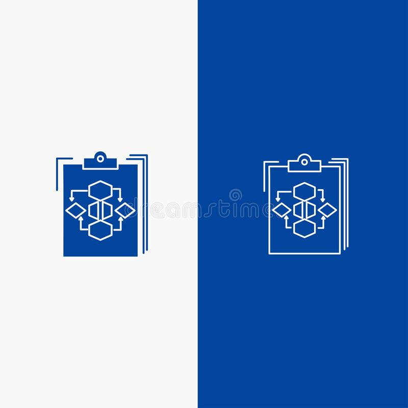 Clipboard, Business, Diagram, Flow, Process, Work, Workflow Line and Glyph Solid icon Blue banner Line and Glyph Solid icon Blue. Banner stock illustration