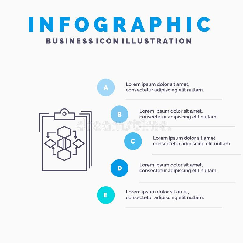 Clipboard, Business, Diagram, Flow, Process, Work, Workflow Line icon with 5 steps presentation infographics Background stock illustration