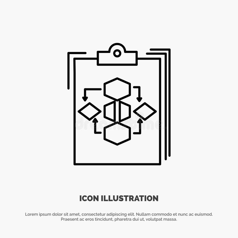 Clipboard, Business, Diagram, Flow, Process, Work, Workflow Line Icon Vector vector illustration