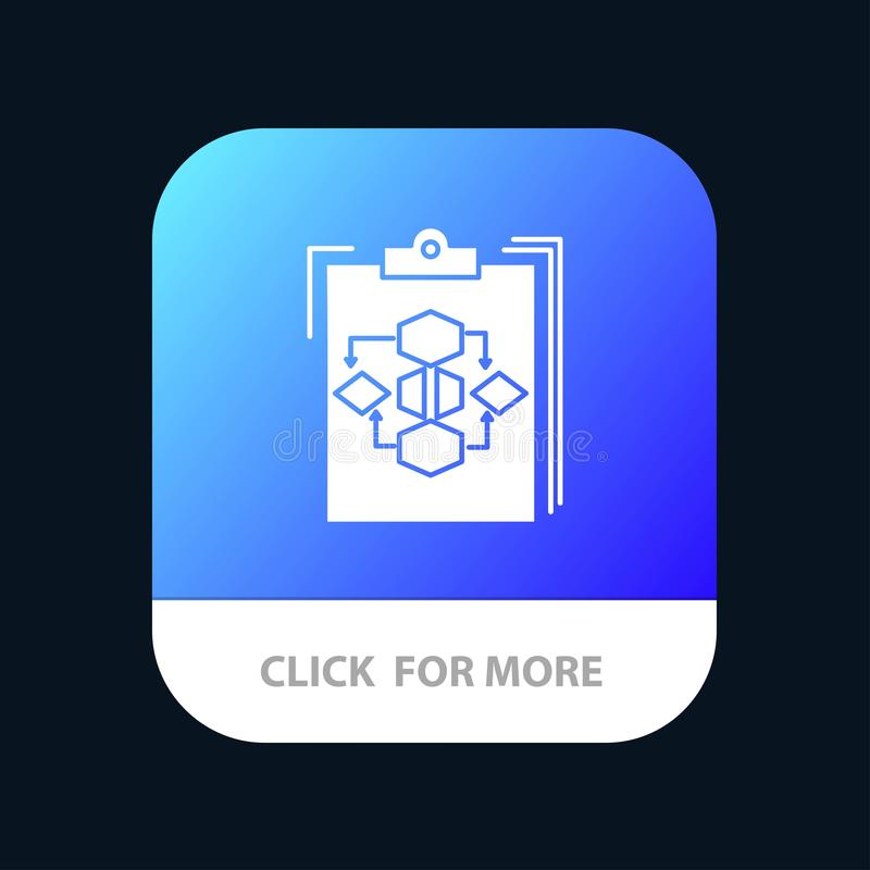 Clipboard, Business, Diagram, Flow, Process, Work, Workflow Mobile App Button. Android and IOS Glyph Version royalty free illustration