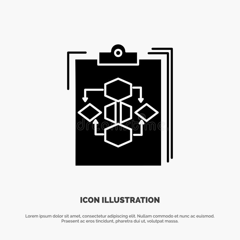 Clipboard, Business, Diagram, Flow, Process, Work, Workflow solid Glyph Icon vector stock illustration