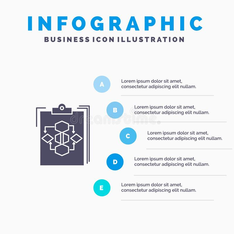 Clipboard, Business, Diagram, Flow, Process, Work, Workflow Solid Icon Infographics 5 Steps Presentation Background royalty free illustration