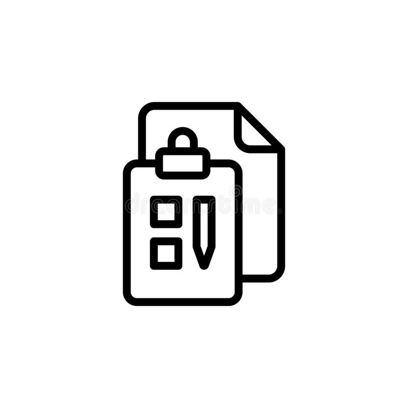 clipboard, business icon. Simple thin line, outline vector of Project Management icons for UI and UX, website or mobile royalty free illustration