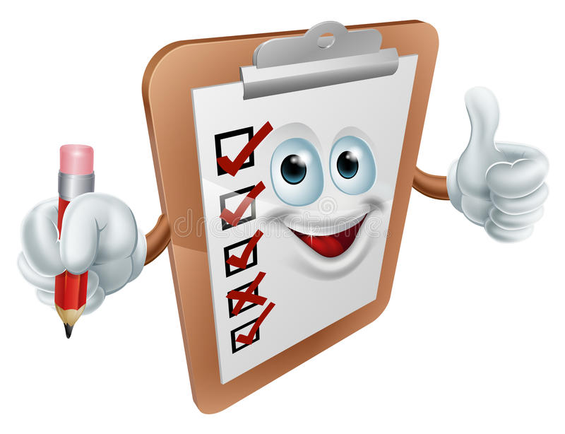 Clipboard character. Happy clipboard survey man giving a thumbs up and holding a pencil royalty free illustration