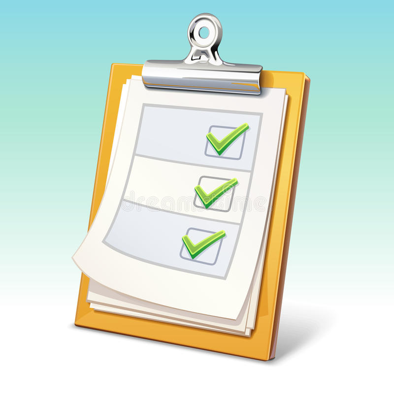 Clipboard with check list stock illustration