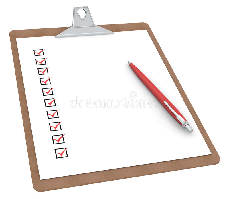 Clipboard with Checklist X 10 and Pen. stock illustration