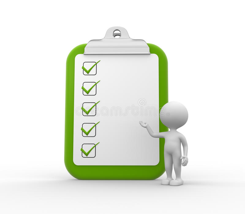 Clipboard and checklist. 3d people - man , person with clipboard and checklist royalty free illustration