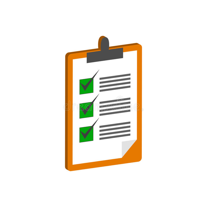 Clipboard with checklist symbol. Flat Isometric Icon or Logo. royalty free illustration