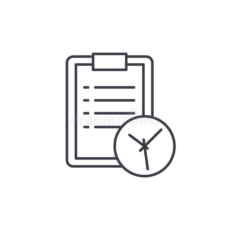 Clipboard and clock, to-do list thin line icon. Linear vector symbol vector illustration