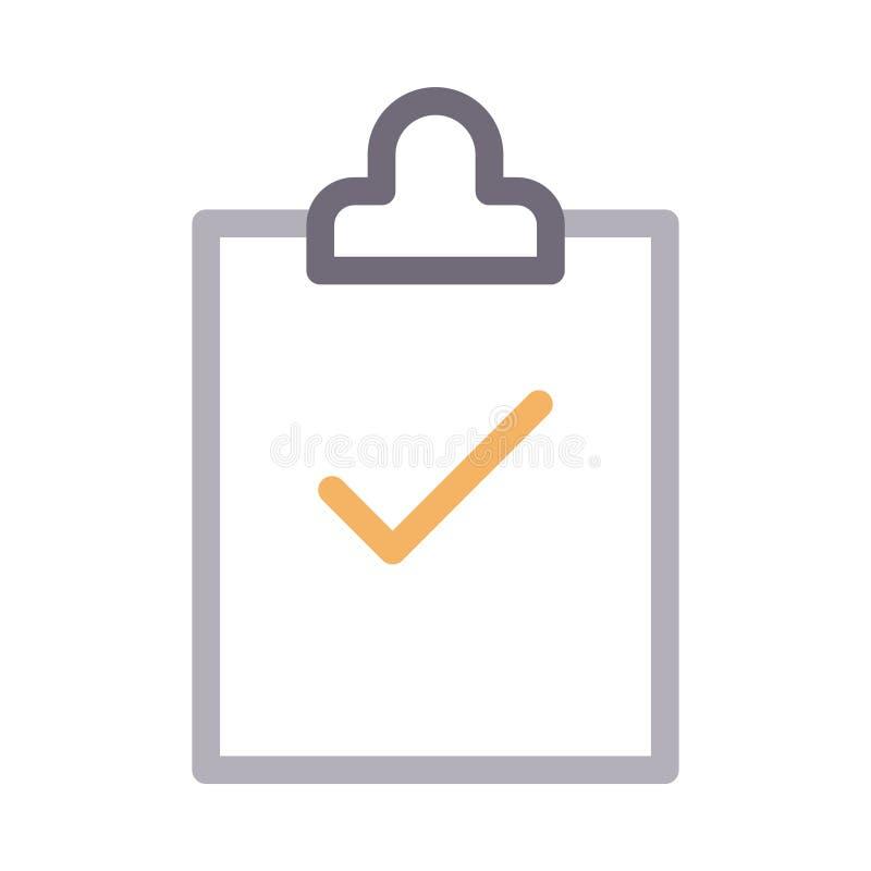 Clipboard colour line vector  icon stock illustration