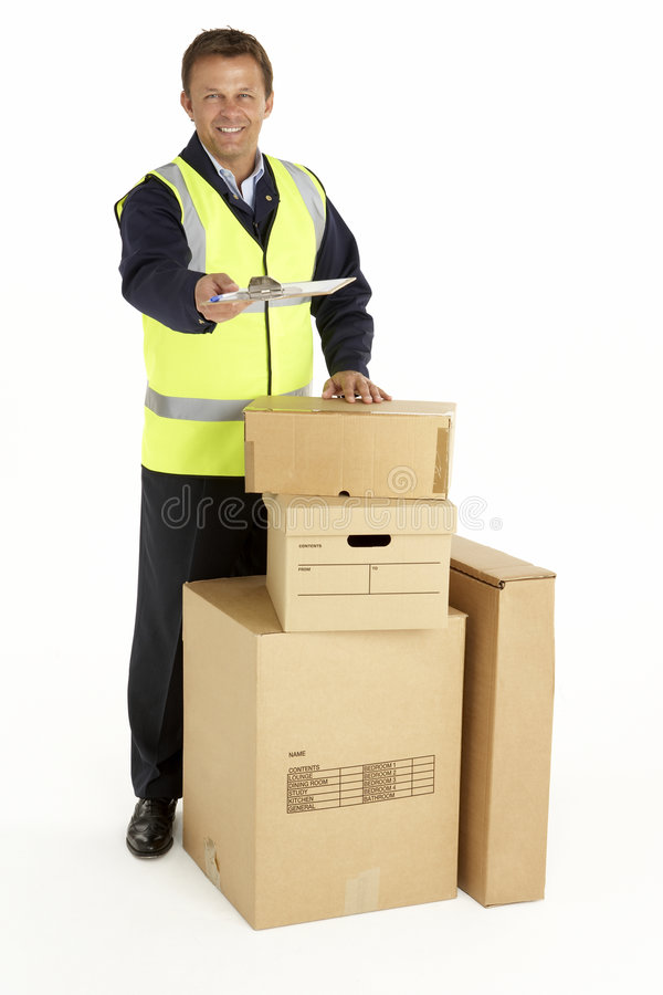 clipboard courier delivering holding parcels στοκ φωτογραφία