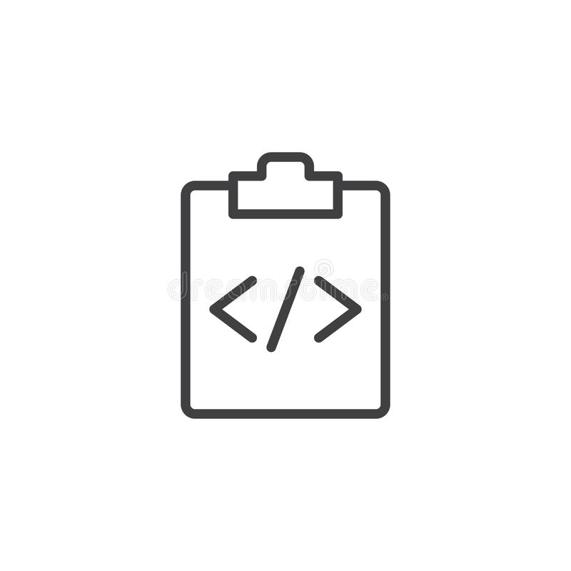 Clipboard and custom code line icon stock illustration