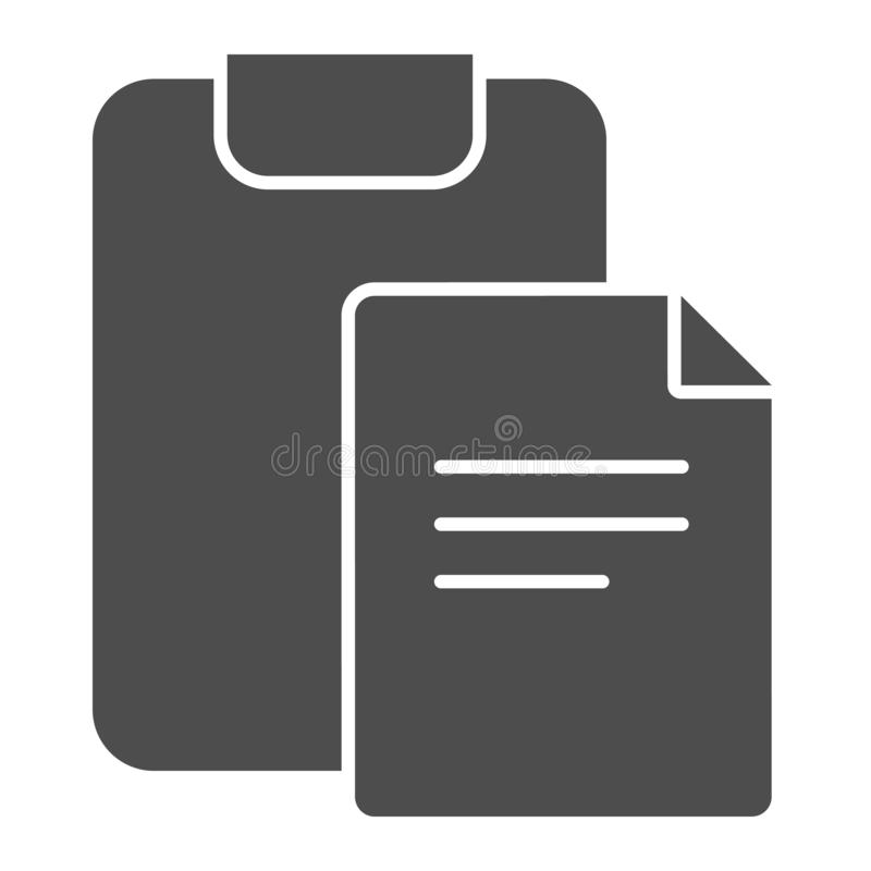 Clipboard with document to sign solid icon. Paper and checkboard vector illustration isolated on white. Form glyph style. Design, designed for web and app. Eps vector illustration
