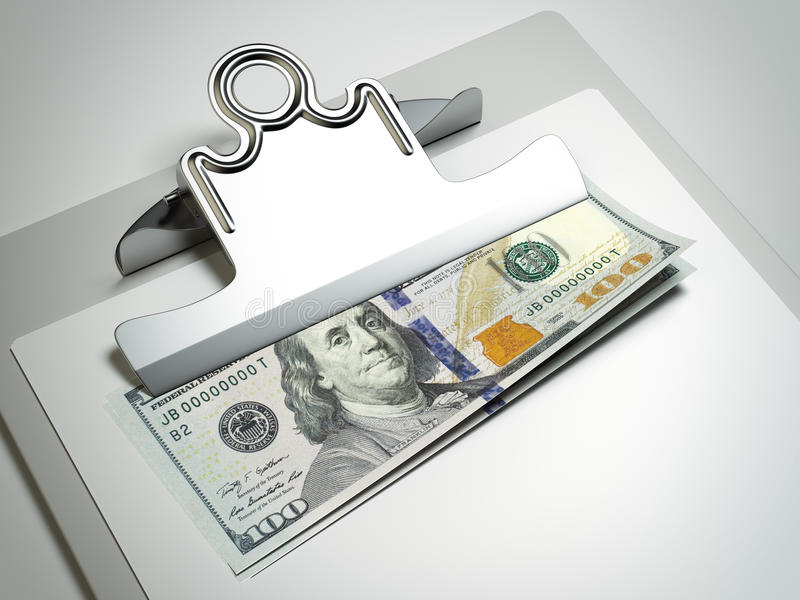 Clipboard with dollar bills. Isolated on a gray background stock illustration