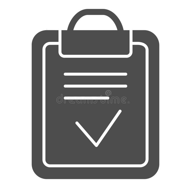 Clipboard done solid icon. Done list vector illustration isolated on white. Paper with check glyph style design. Designed for web and app. Eps 10 vector illustration
