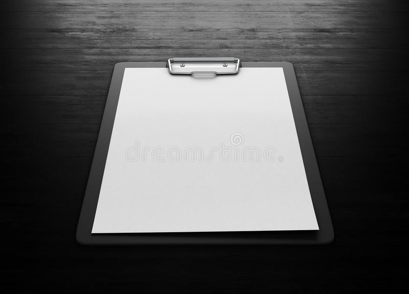 clipboard with an empty sheet of paper on black wood background stock illustration. Black Bedroom Furniture Sets. Home Design Ideas