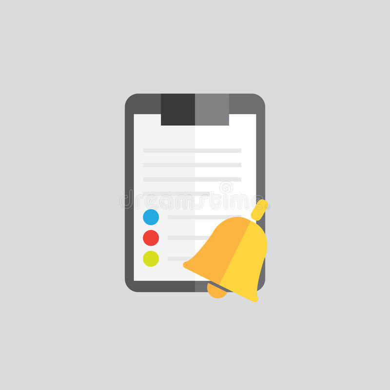 Clipboard folder with blank white sheet of paper. Color icon. Sign reminder bell royalty free illustration