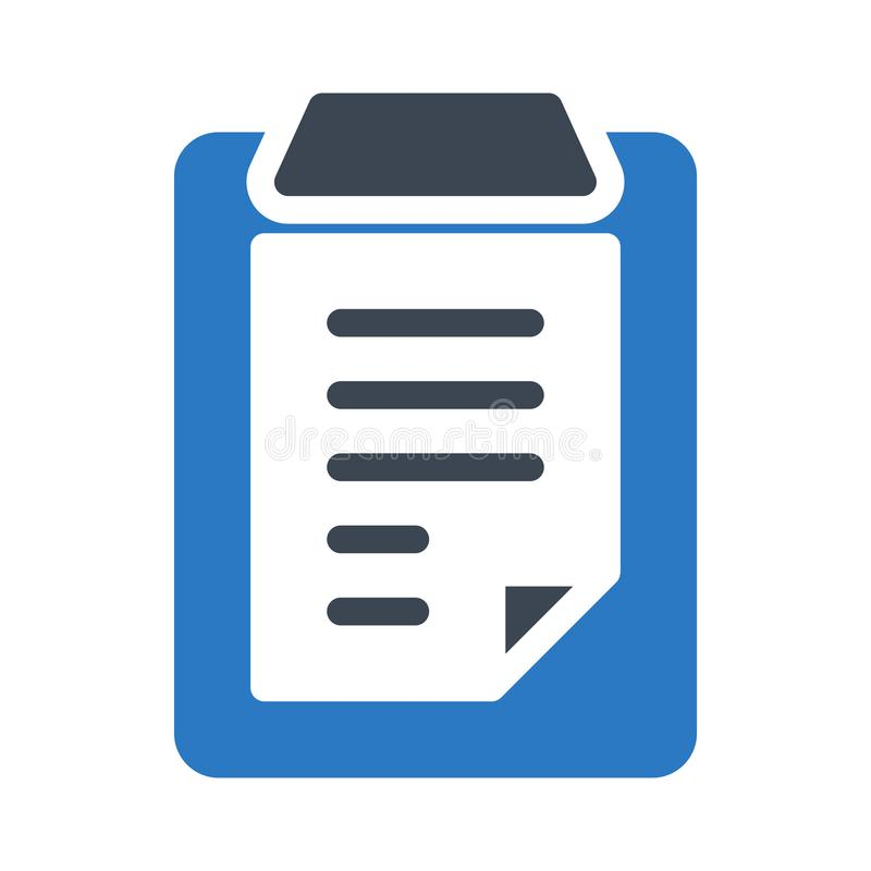 Clipboard glyph color flat vector icon stock illustration