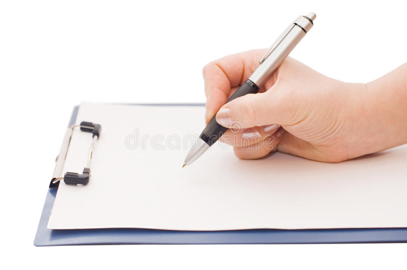 Clipboard and hand royalty free stock images