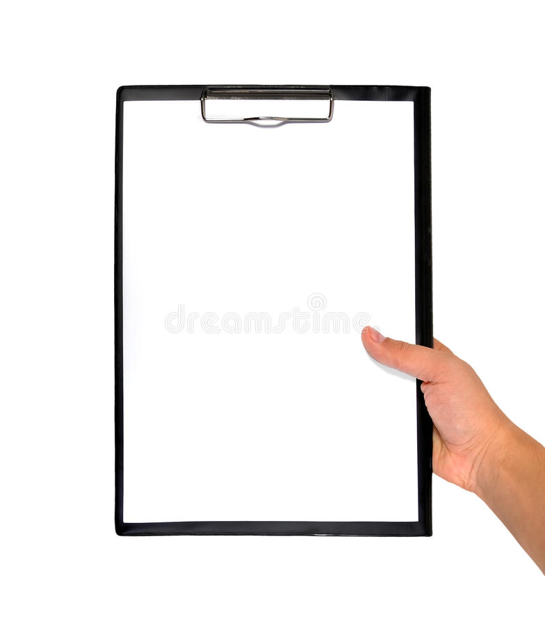 Clipboard in hand stock image