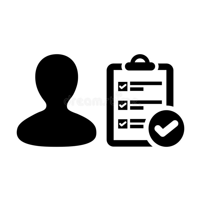 Clipboard icon vector male person profile avatar with survey checklist report document and tick symbol stock illustration