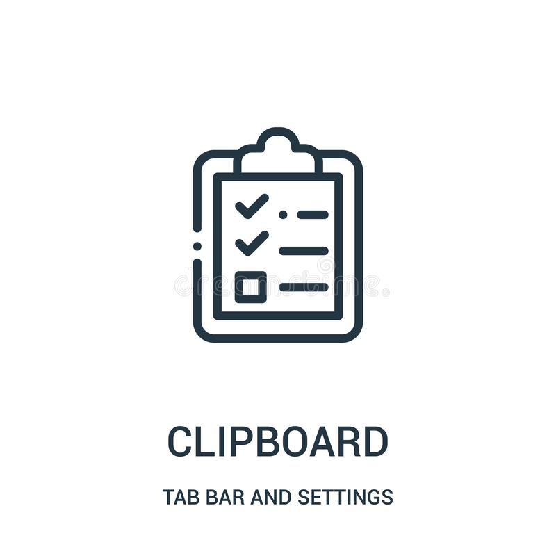 clipboard icon vector from tab bar and settings collection. Thin line clipboard outline icon vector illustration royalty free illustration