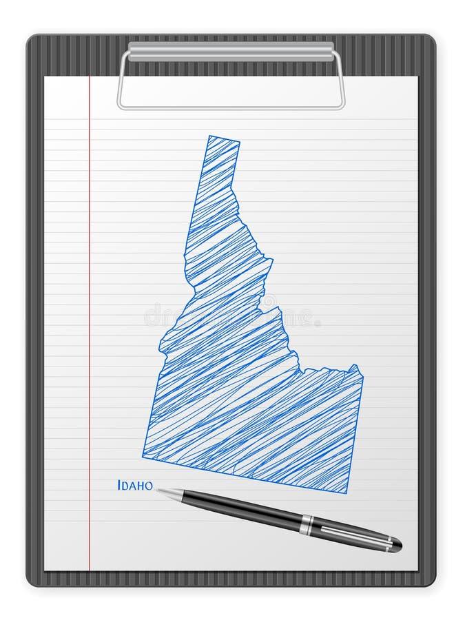 Clipboard Idaho map. Clipboard with drawing Idaho map. Vector illustration stock illustration