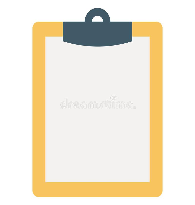 Clipboard Isolated Color Vector Icon. Illustration royalty free illustration