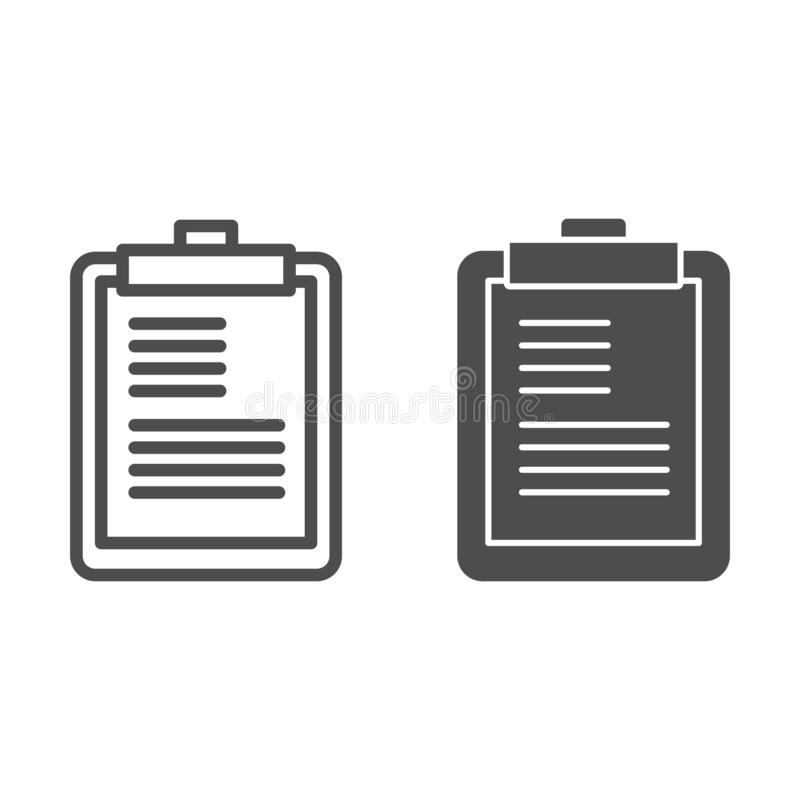 Clipboard line and glyph icon. Scheduler vector illustration isolated on white. Notepad outline style design, designed. For web and app. Eps 10 stock illustration