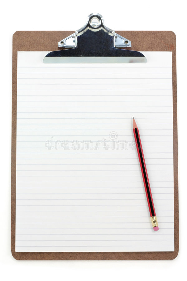 Download Clipboard and lined paper stock image. Image of office - 1708195