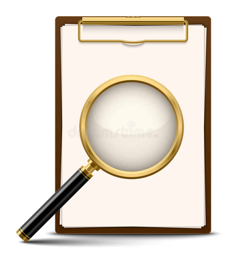 Clipboard and magnifying glass stock illustration
