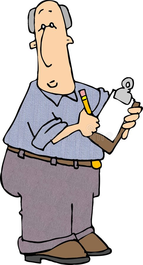 Clipboard Man 2. This illustration that I created depicts a man holding a clipboard and pencil royalty free illustration