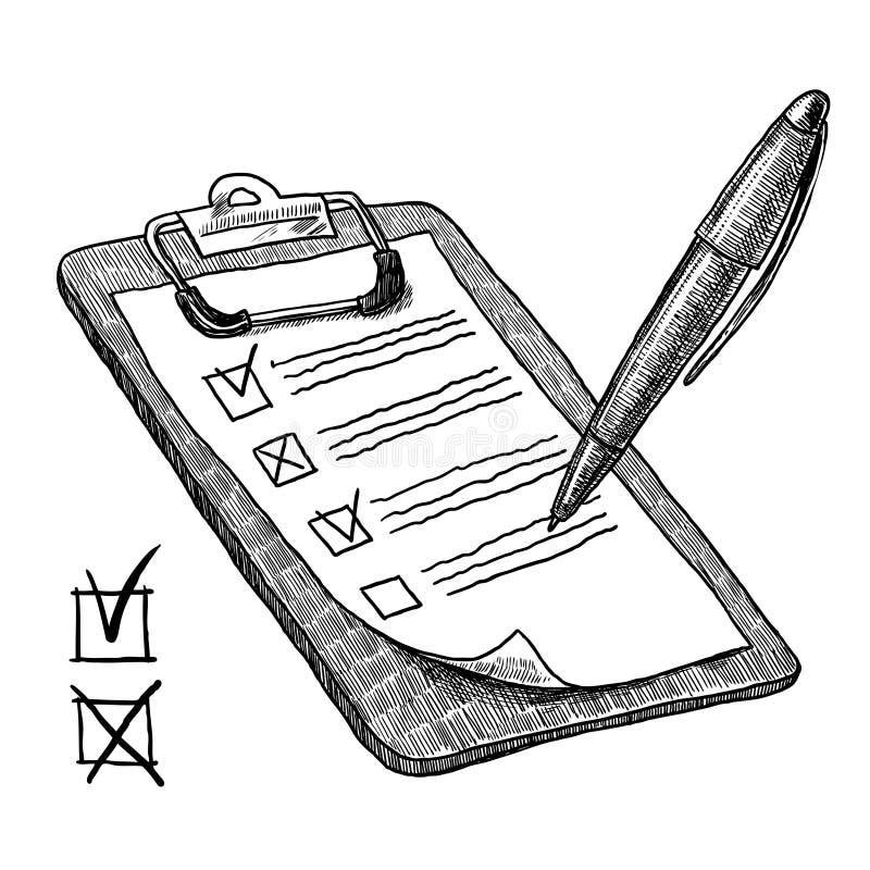 Clipboard med kontrolllistan royaltyfri illustrationer